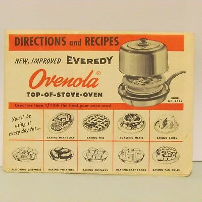 Everedy Ovenola Top of Stove Oven Instructions Appliance Advertising Pre-1963