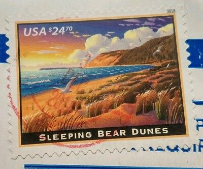 Sleeping Bear Dunes - $24.70 USPS Express Mail Stamp Used On Paper.