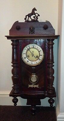 Antique German RA Pendulum Wall Clock..Spares or repair..