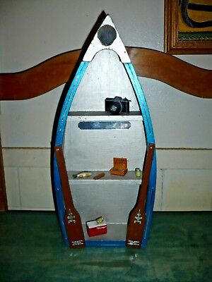 VTG FOLK ART HANDMADE PAINTED FISHER MANS ROWBOAT w DECOR TABLE SHELF CHAPEL