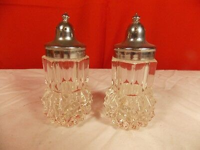 Vintage Clear Glass Salt & Pepper Shakers With Silver Lids