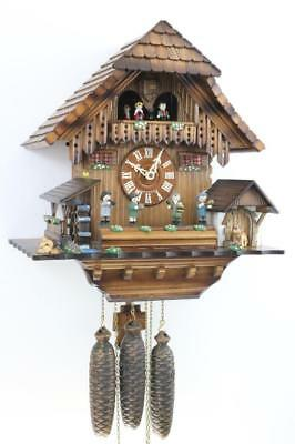 MUSICAL CUCKOO CLOCK 8 day OOM-PAH BAND waterwheel SILENT LEVER 2 tunes BUCHERER
