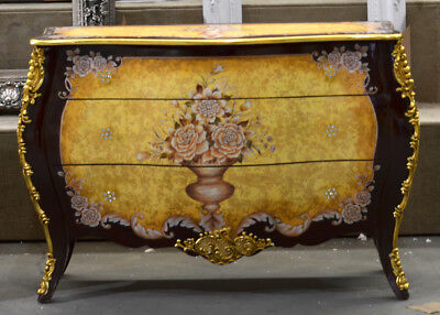 Vintage Style French Golden Floral Commode Bombe Chest,49'' x 35''H