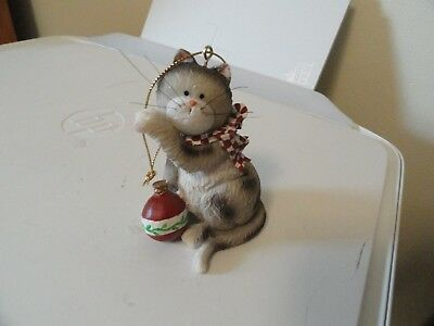 Cat Christmas Tree Ornament Grey Tabby