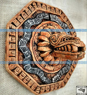 Feathered Serpent Aztec Mayan Plaque Statue Sculpture Pre-Columbian Calendar Art