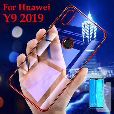 For Huawei Y9 2019 Ultra Thin Plating TPU Case Glossy Transparent Silicone Cover