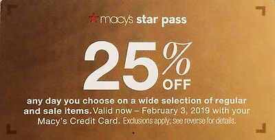 Macys Coupon 25% off reg and sale items Or 15% off Jewelry, Watches now - 2/3/19