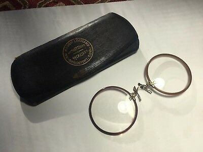 Shur-On Spectacles Eyeglasses Antique Faux Tortoise Rims Original Case Pince Nez