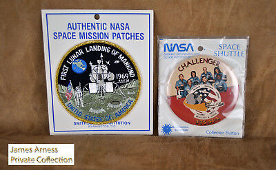 James Arness Gunsmoke Marshal Dillon NASA Challenger Button& Lunar Mission Patch