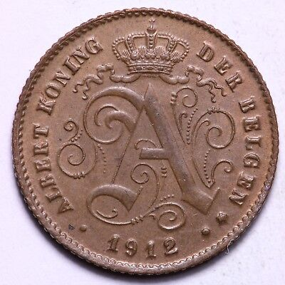 1912 Belgium 1 Centime Coin    Free S/H To The USA