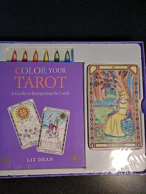 COLOR YOUR TAROT by LIZ DEAN, Full Deck & Pencils in Set, Great Gift NEW SEALED!
