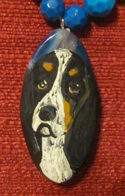 Basset Hound hand painted on marquis cut Agate pendant/bead/necklace