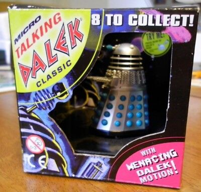 """Micro Talking Dalek. Classic. Doctor Who. Silver with blue """"bumps"""". ©BBC 1996"""