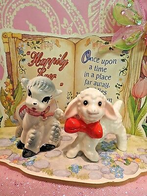 Vtg Anthropomorphic EASTER Baby Lambs W Red Bow Ties LOT OF TWO Nippon JAPAN
