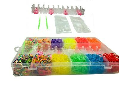 Massive 2640 Rubber Band loom Board Kits Kids Colourful Kit & Case Refill Set