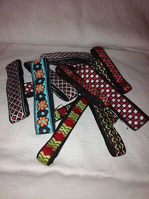 Job Lot Vintage Retro Funky Pattren Trims 12 Lengths (Each 1Yd +) Unused Crafts
