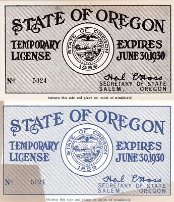 TWO 1930 OREGON license plate windshield decal COPY (GIBBY)