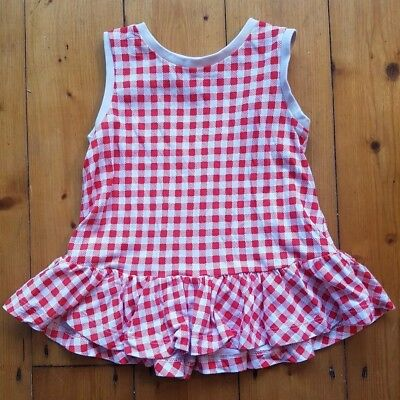 Arket 18-24 Months Baby Girl Toddler Red And Cream Check Dress/top. Vgc.
