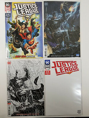 Justice League #1 NM 4 Cover Lot Jim Lee Variants + Blank Variant NM Set