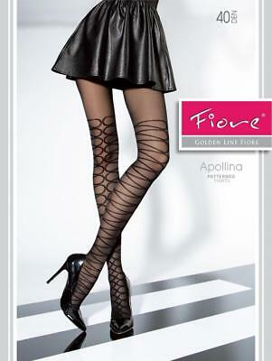 Fiore Apollina Black 40 Denier Patterned Pantyhose Tights   3 Sizes