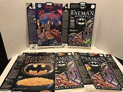 5 Cereal Boxes Batman & The Addams Family