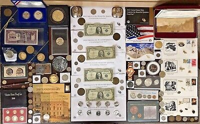 Lot of Coin sets, Watches, Paper Money, Pins, Silver Coins, Commemorative Coins