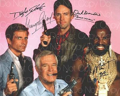 The A Team Original poster signed all 4 8X10 photo picture autograph RP