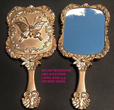 New Antique Gold Square Butterfly Hand Held Mirrors, Beauty & The Beast