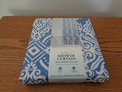 Home Classics Blue Ombre Foulard Shower Curtain, NEW