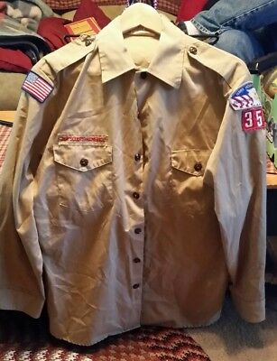 BSA BOY SCOUTS ADULT Medium LONG SLEEVE UNIFORM SHIRT MEN's PATCHES