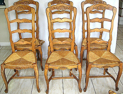 Antique Dining Chairs 6 French Ladder Back Shell Carved Rush Seats Cabriole Legs