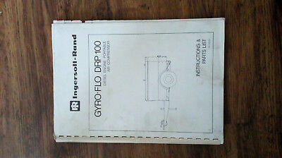 Ingersoll Rand Gyro-Flo Drp 100 Towcompressor Operatorshandbook. Used Condition.