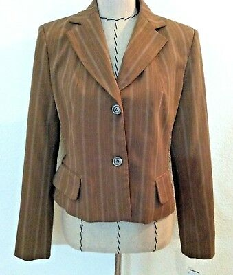 New Harve Bernard women blazer beige brown pinstripe suit jacket tailored $160