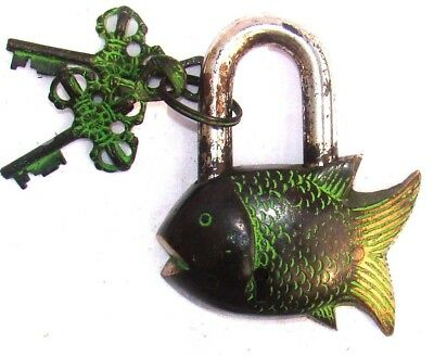 An attractive antique style brass made Unique Fish shape Padlock from India