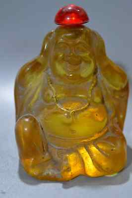 Collectable Amber Carve Smile Buddha Hold Ears Exorcism Tibet Hand Snuff Bottle