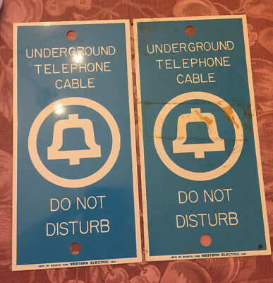 Bell System Telephone Underground Cable 'Do Not Disturb' Metal Signs Two NOS