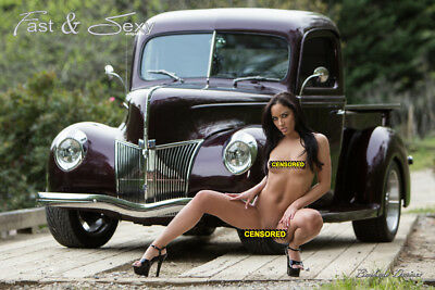Nude Playboy model Barbara Desiree with 1940 Ford Truck 12x18