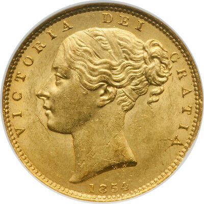 Great Britain Victoria 1854 Gold Sovereign Ngc Ms63 Ww Incuse. Rare.