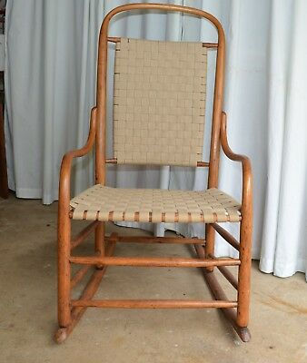 1920's Antique Primitive Wooden Rocking Chair with Webbing Back and Seat, USA