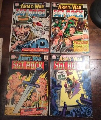 Lot of 4 Our Army at War (1960s) #158 #160 #189 #195 Readers Lot Sgt. Rock