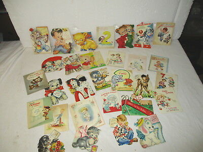 Huge lot 30 vintage late 1940's children's birthday cards