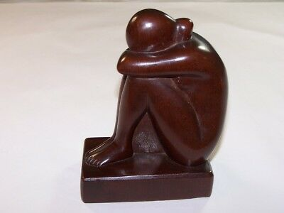 Superb antique Art Deco 1930's carved wooden woman sculpture / Sonia Tagger