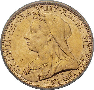 Great Britain Victoria 1893 Gold Sovereign Pcgs Ms62