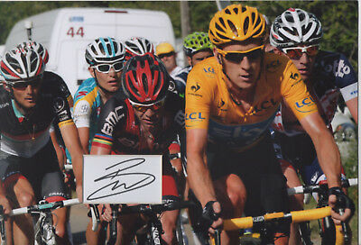 BRADLEY WIGGINS Signed 12x8 Photo Display TOUR DE FRANCE Cycling Champion COA