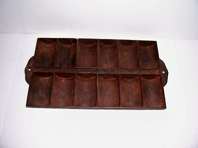 Vintage Antique Wood and Bishop Cast Iron French Roll Pan