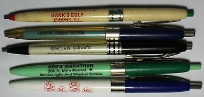 Vintage lot of 5 Ink Pens Advertising STP Marathon Sinclair Texaco Gulf