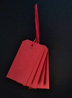 25 Red Strung Luggage Tags 120Mm X 60Mm Gift Labels Tie On Tickets Red String