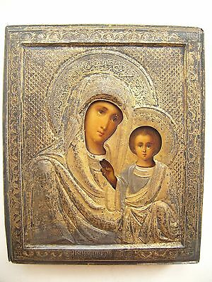 """Antique 19c Orthodox Hand Painted Wood Icon """"The Vergin of Kazan """" Silver 84"""