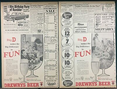 1960 DREWRYS BEER; Two Large Newspaper Ads