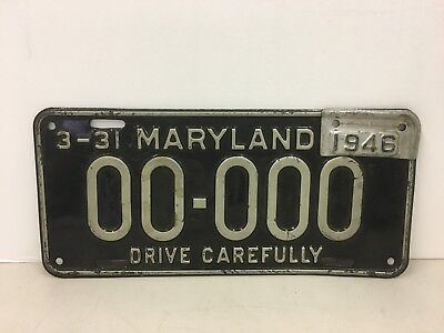 Vintage Maryland Sample License Plate 1945 with 1946 Year Tab Metal Plate MD